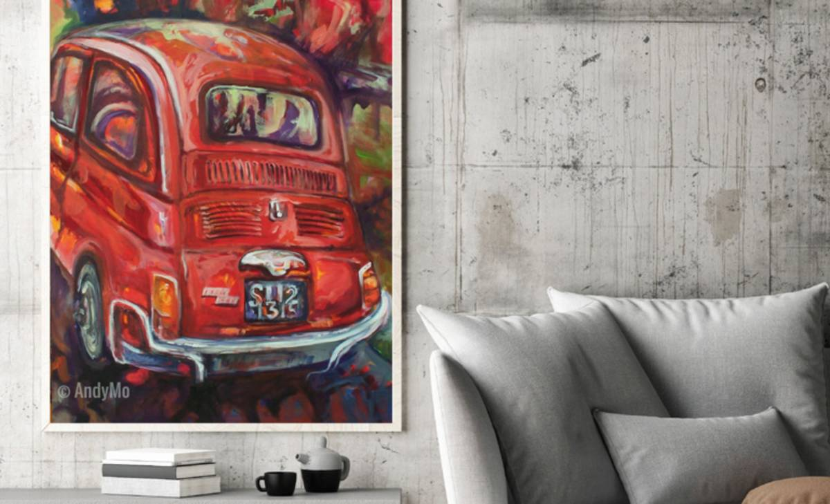 """Ciao, Ciao Bambina - Fiat Cinquecento"" Painting by AndyMo"