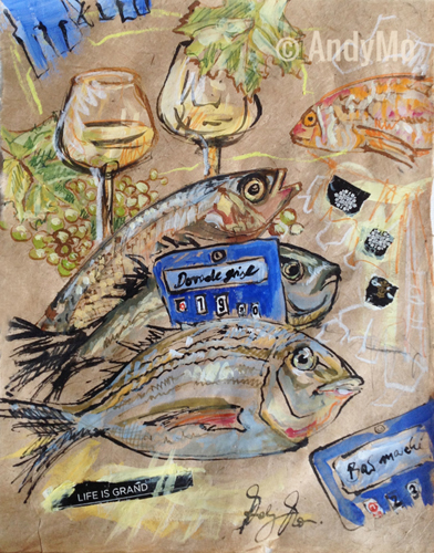 Poissons - Life is grand | 40 x 50 cm | Crossover Paperwork | AndyMo